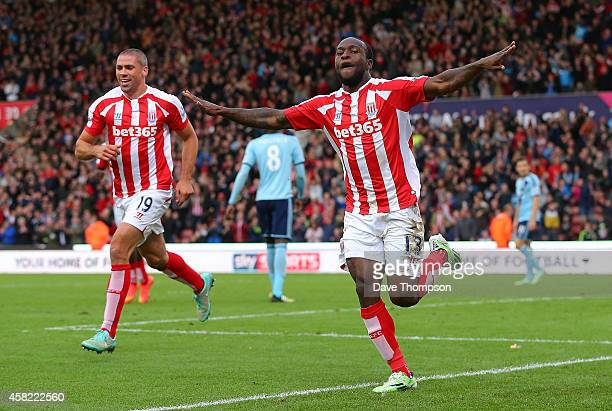 Victor Moses of Stoke City celebrates scoring the opening goal during the Barclays Premier League match between Stoke City and West Ham United at the...