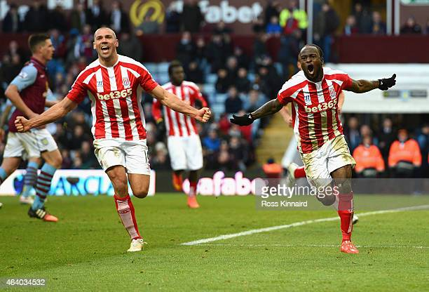 Victor Moses of Stoke City celebrates scoring their second goal with Jonathan Walters of Stoke City during the Barclays Premier League match between...