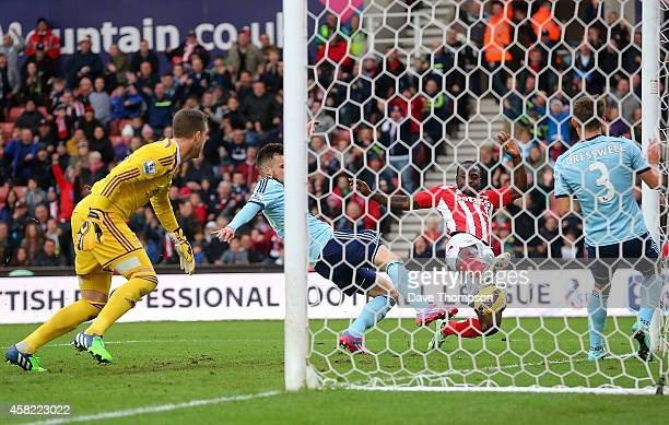 Victor Moses of Stoke City scores the opening goal during the Barclays Premier League match between Stoke City and West Ham United at the Britannia...