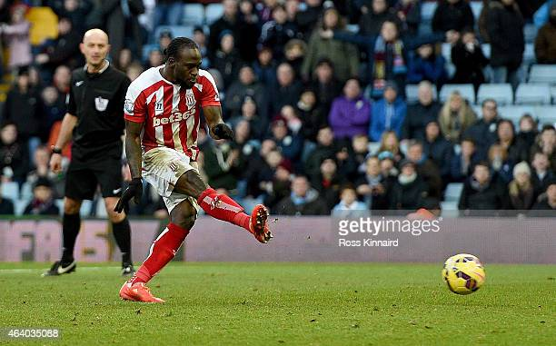 Victor Moses of Stoke scores from the penalty spot during the Barclays Premier League match between Aston Villa and Stoke City at Villa Park on...