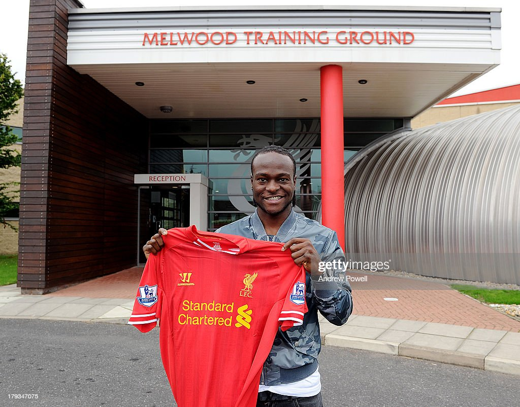 Victor Moses signs a contract for Liverpool Football Club at Melwood Training Ground on September 2, 2013 in Liverpool, United Kingdom.
