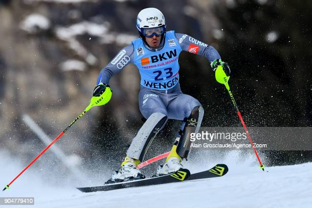 Victor Muffatjeandet of France competes during the Audi FIS Alpine Ski World Cup Men's Slalom on January 14 2018 in Wengen Switzerland