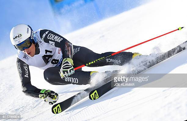 Victor MuffatJeandet of France competes in the first run of the men's giant slalom of the FIS ski world cup in Soelden Austria on October 23 2016 /...