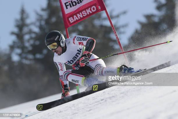 Victor Muffat-jeandet of France in action during the Audi FIS Alpine Ski World Cup Men's Giant Slalom on February 28, 2021 in Bansko Bulgaria.