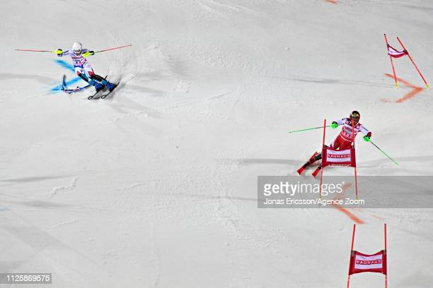 Victor Muffat-jeandet of France in action, Marcel Hirscher of Austria in action during the Audi FIS Alpine Ski World Cup Men's and Women's City Event...