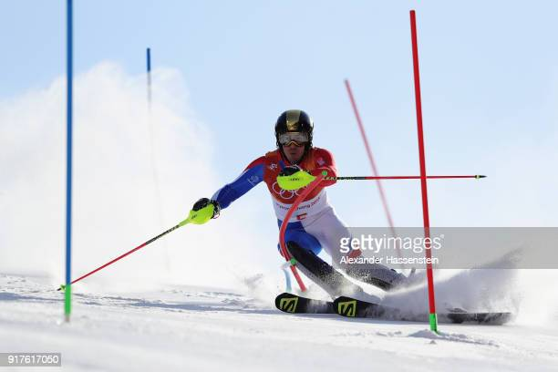 Victor MuffatJeandet of France makes a run during the Men's Alpine Combined Slalom on day four of the PyeongChang 2018 Winter Olympic Games at...