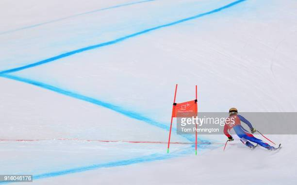 Victor MuffatJeandet of France makes a run during the Men's Downhill Alpine Skiing training at Jeongseon Alpine Centre on February 9 2018 in...