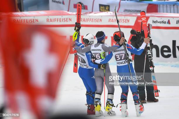 Victor Muffatjeandet of France Peter Fill of Italy Pavel Trikhichev of Russia during the Audi FIS Alpine Ski World Cup Men's Combined on January 12...