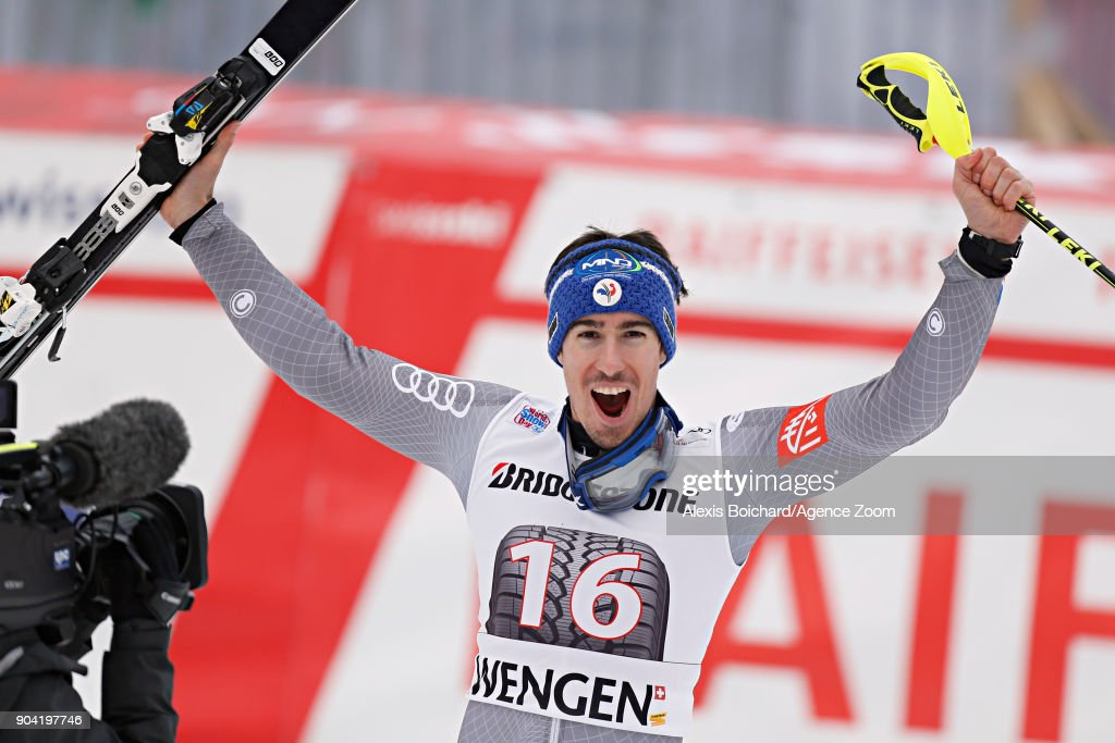 Victor Muffat-jeandet of France takes 1st place during the Audi FIS Alpine Ski World Cup Men's Combined on January 12, 2018 in Wengen, Switzerland.