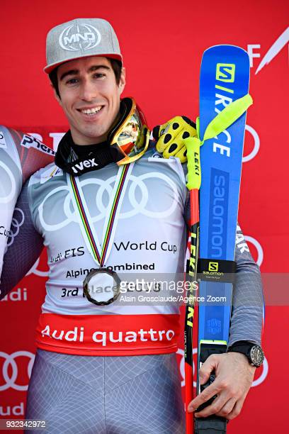 Victor Muffatjeandet of France takes 3rd place in the men alpine combined standing during the Audi FIS Alpine Ski World Cup Finals Men's and Women's...