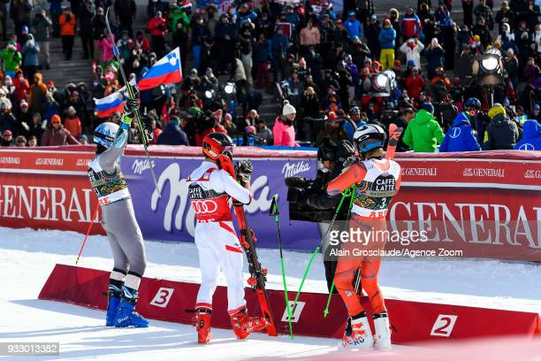 Victor Muffatjeandet of France takes 3rd place Marcel Hirscher of Austria takes 1st place Henrik Kristoffersen of Norway takes 2nd place during the...