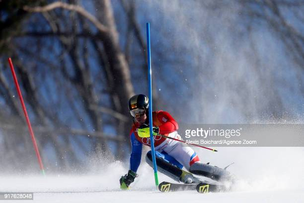 Victor Muffatjeandet of France wins the bronze medal during the Alpine Skiing Men's Combined at Jeongseon Alpine Centre on February 13 2018 in...