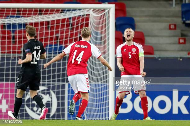 Victor Nelsson of Denmark celebrates after scoring their side's second goal during the 2021 UEFA European Under-21 Championship Quarter-finals match...