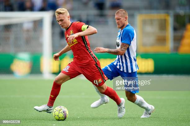 Mikkel Damsgaard of FC Nordsjalland controls the ball during the Danish Superliga match between FC Nordsjalland and Esbjerg fB at Right to Dream Park...