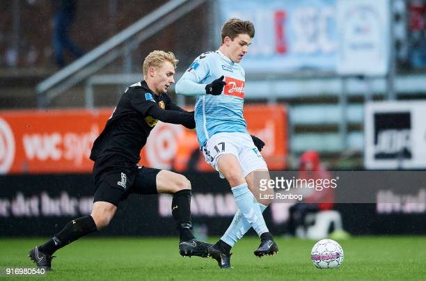 Victor Nelsson of FC Nordsjælland and Mikael Uhre of Sonderjyske compete for the ball during the Danish Alka Superliga match between Sonderjyske and...