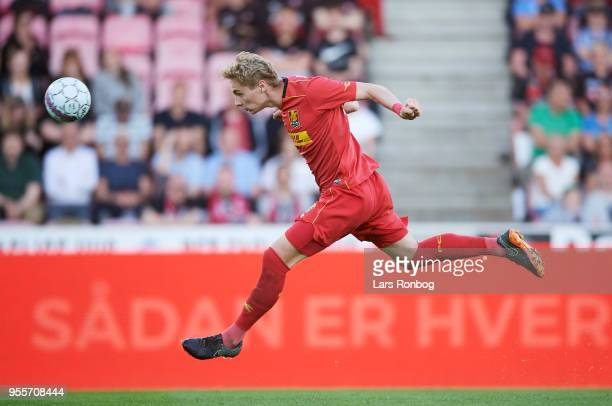 Victor Nelsson of FC Nordsjælland in action during the Danish Alka Superliga match between FC Midtjylland and FC Nordsjalland at MCH Arena on May 7...