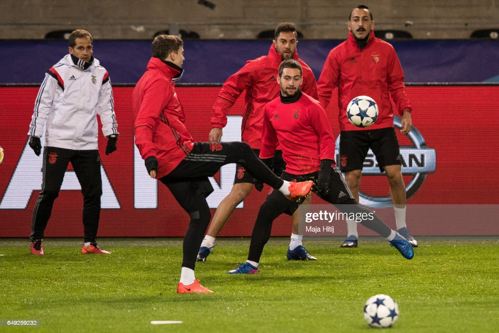 Victor Nilsson Lindeloef (2L) and Andrija Zivkovic (2L) of Benfica warm up during the training prior the UEFA Champions League Round of 16 second leg match between Borussia Dortmund and SL Benfica at Signal Iduna Park on March 7, 2017 in Dortmund, Germany.