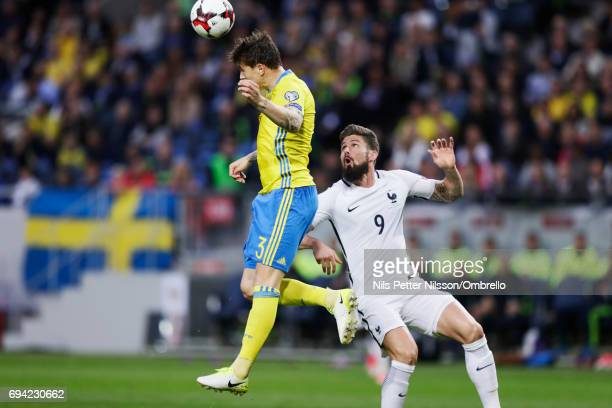 Victor Nilsson Lindelof of Sweden and Olivier Giroud of France during the FIFA 2018 World Cup Qualifier between Sweden and France at Friends Arena on...