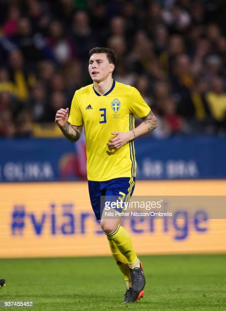 Victor Nilsson Lindelof of Sweden during the International Friendly match between Sweden and Chile at Friends arena on March 24 2018 in Solna Sweden