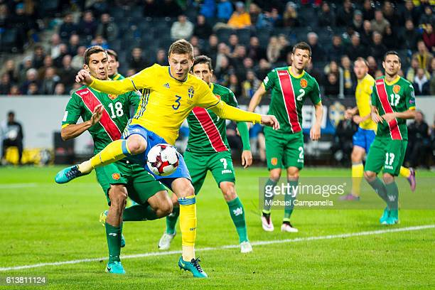 Victor Nilsson Lindelof of Sweden scores the 30 goal during the 2018 FIFA World Cup Qualifier match between Sweden and Bulgaria at Friends Arena on...