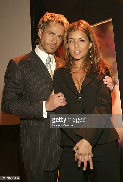 Victor Noriega and Grettell Valdez during Angel Rebelde Telenovela/Soap Opera Photocall at Fono Video Studios in Miami Florida United States