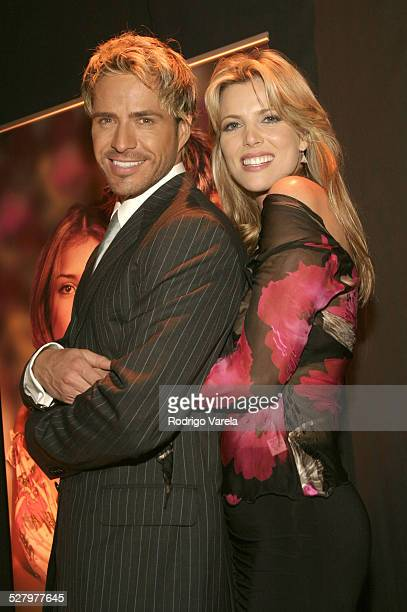 Victor Noriega and Maritza Rodriguez during Angel Rebelde Telenovela/Soap Opera Photocall at Fono Video Studios in Miami Florida United States