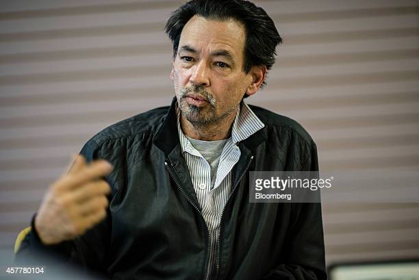 Victor Nunez a worker with LSG Sky Chefs speaks during an interview in the Queens borough of New York US on Tuesday Oct 21 2014 Nunez is a truck...
