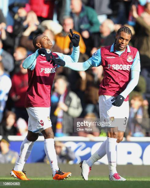 Victor Obinna of West Ham United celebrates scoring the opening goal with teammate Frederic Piquionne during the FA Cup sponsored by E.O.N 4th Round...