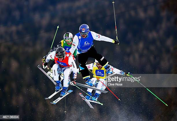 Victor Oehling Norberg of Sweden Armin Niederer of Switzerland Thomas Zangerl of Austria and Paul Eckert of Germany compete in the semi final of the...