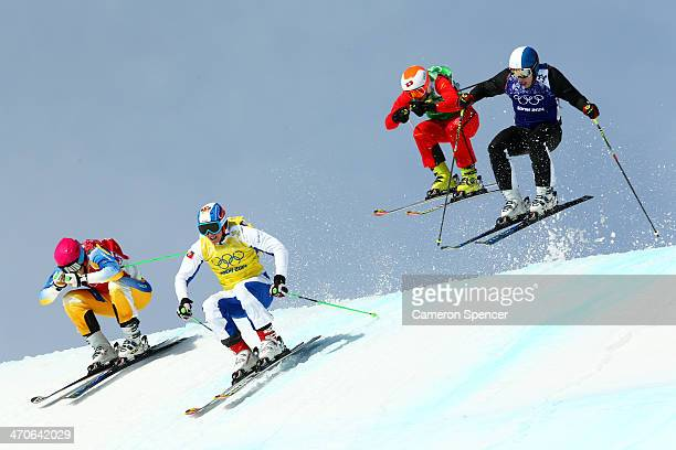 Victor Oehling Norberg of Sweden Egor Korotkov of Russia Armin Niederer of Switzerland and Jouni Pellinen of Finland compete during the Freestyle...