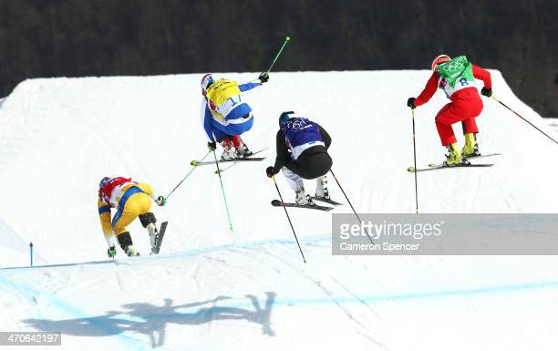 Victor Oehling Norberg of Sweden Egor Korotkov of Russia Jouni Pellinen of Finland and Armin Niederer of Switzerland compete during the Freestyle...