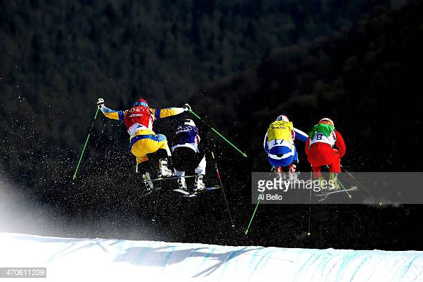 Victor Oehling Norberg of Sweden Jouni Pellinen of Finland Egor Korotkov of Russia and Armin Niederer of Switzerland compete during the Freestyle...