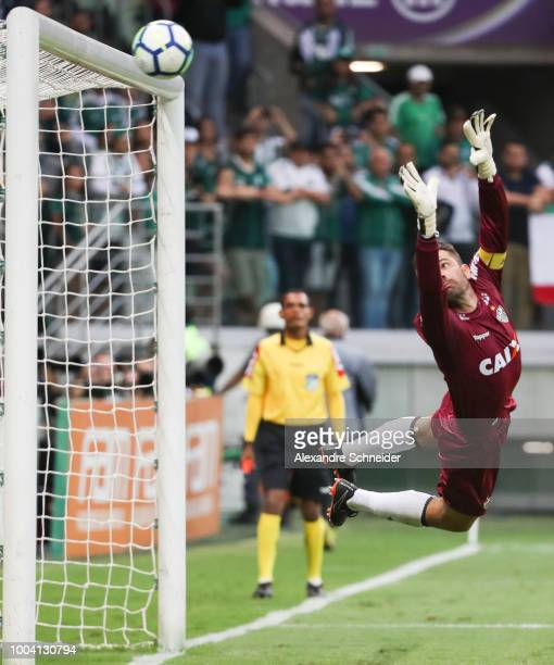 Victor of Atletico MG fails to save the second goal of Palmeiras during the match between Palmeiras and Atletico MG for the Brasileirao Series A 2018...