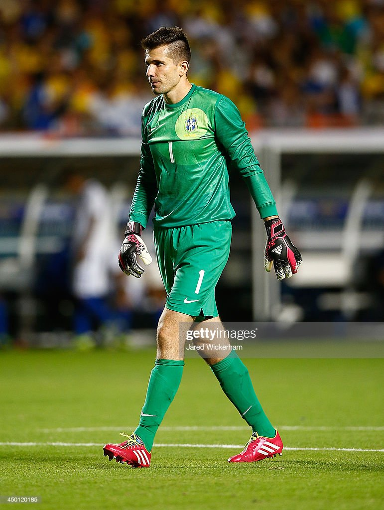 Victor #1 of Brazil walks back to his goal in the second half against Honduras during a friendly match at Sun Life Stadium on November 16, 2013 in Miami Gardens, Florida.