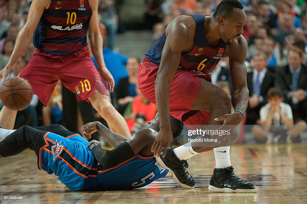 Victor Oladipo, #5 of Oklahoma City Thunder competes with Joey Dorsey, #6 of FC Barcelona Lassa during the NBA Global Games Spain 2016 FC Barcelona Lassa v Oklahoma City Thunder at Palau Sant Jordi on October 5, 2016 in Barcelona, Spain.