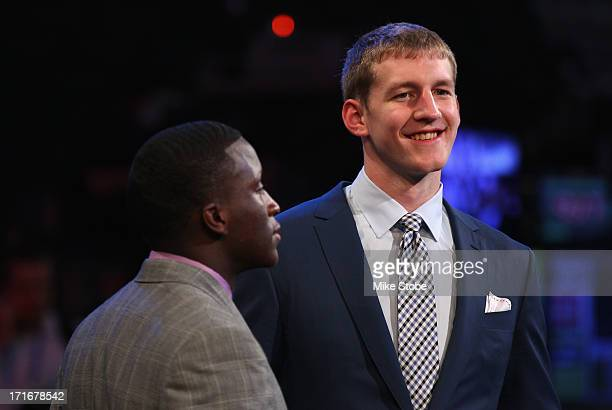 Victor Oladipo and Cody Zeller of Indiana look on prior to the start of the first round during the 2013 NBA Draft at Barclays Center on June 27 2013...