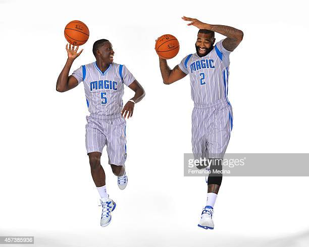 Victor Oladipo and Kyle O'Quinn of the Orlando Magic pose for a picture at the Orlando Magic Media Day on September 29 2014 at Amway Center in...