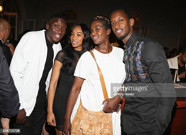 Victor Oladipo Bri Rachel Johnson and IVan Kegame attend An Intimate Evening With Michael Jordan And Neymar Jr on June 1 2016 in New York City