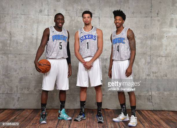 Victor Oladipo Elfrid Payton and Michael CarterWilliams of the USA team poses for a portrait prior to the 2015 NBA AllStar Rookie Rising Stars...
