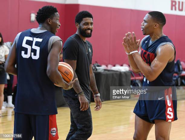 Victor Oladipo Kyrie Irving and Russell Westbrook of the United States joke around during a practice session at the 2018 USA Basketball Men's...