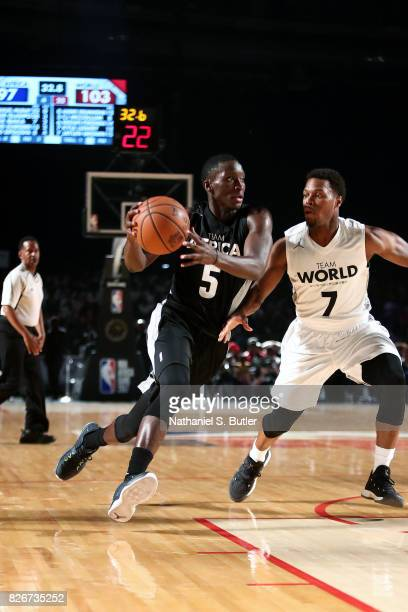 Victor Oladipo of Team Africa drives to the basket against Team World in the 2017 Africa Game as part of the Basketball Without Borders Africa at the...
