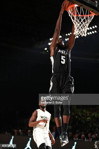 Victor Oladipo of Team Africa dunks the ball against Team World in the 2017 Africa Game as part of the Basketball Without Borders Africa at the...