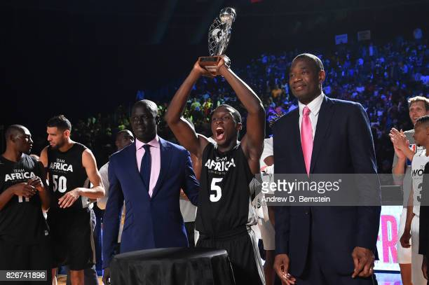 Victor Oladipo of Team Africa receives the MVP against Team World in the 2017 Africa Game as part of the Basketball Without Borders Africa at the...