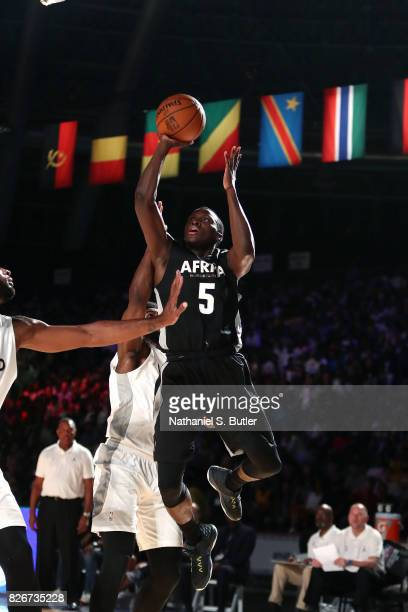Victor Oladipo of Team Africa shoots the ball against Team World in the 2017 Africa Game as part of the Basketball Without Borders Africa at the...