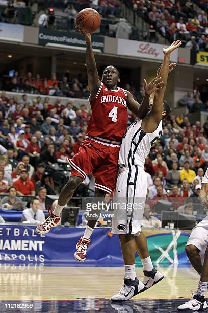 Victor Oladipo of the Indiana Hoosiers drives for a shot attempt against the Penn State Nittany Lions during the first round of the 2011 Big Ten...