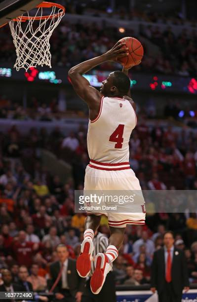 Victor Oladipo of the Indiana Hoosiers dunks against the Illinois Fighting Illini during a quarterfinal game of the Big Ten Basketball Tournament at...