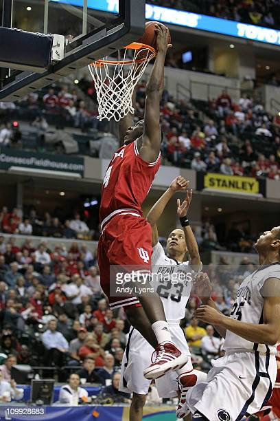 Victor Oladipo of the Indiana Hoosiers dunks against Tim Frazier of the Penn State Nittany Lions during the first round of the 2011 Big Ten Men's...