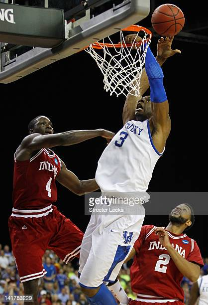 Victor Oladipo of the Indiana Hoosiers fouls Terrence Jones of the Kentucky Wildcats in the first half during the 2012 NCAA Men's Basketball South...
