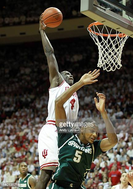 Victor Oladipo of the Indiana Hoosiers shoots the ball during the Big Ten Conference game against the Michigan State Spartans at Assembly hall on...