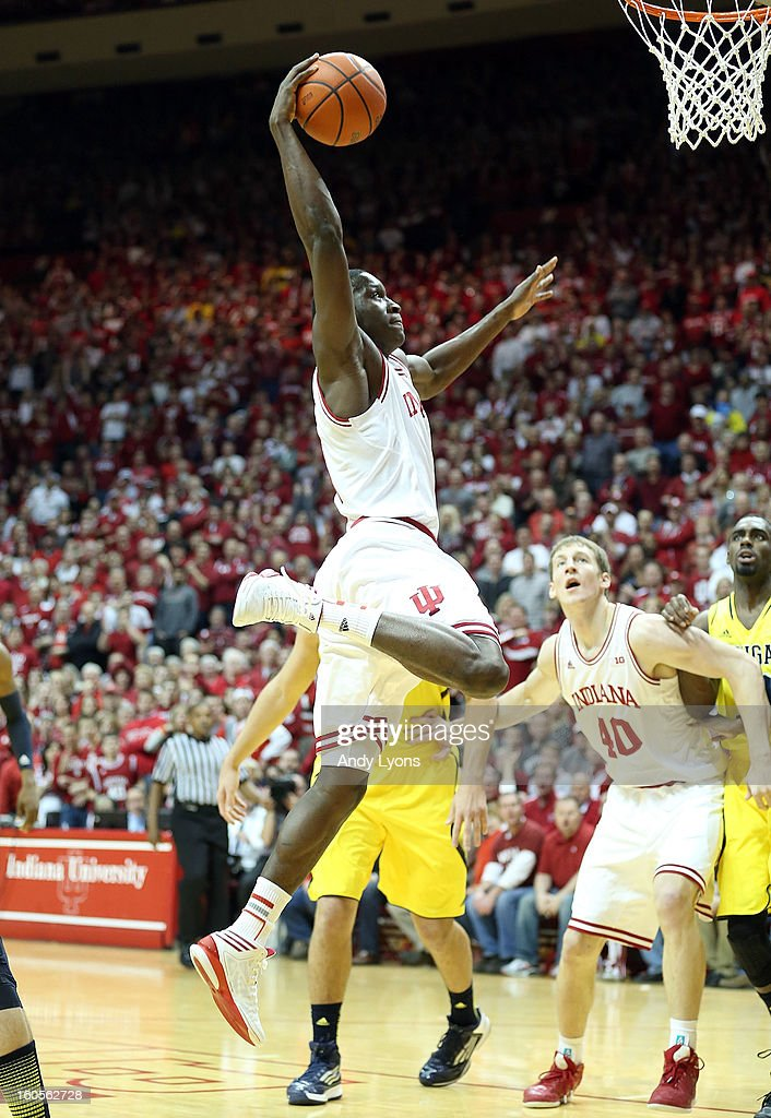 Victor Oladipo #4 of the Indiana Hoosiers shoots the ball during the game against the Michigan Wolverines at Assembly Hall on February 2, 2013 in Bloomington, Indiana.